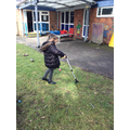 Having a go on the leaf picker