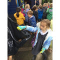 Eco day and picking up leaves.