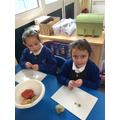 Making playdough vegetables