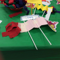 We made dragon puppets like in the New Year parade.