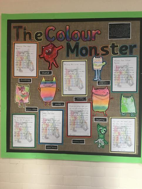 We used pastels to create our own colour monsters.