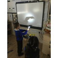 We made shadow puppets and then put on a puppet show.