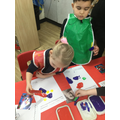 We looked at artwork by Sonia Delaunay and printed with shapes to create our own.