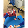 """""""I painted my poppy red and did a green leaf."""""""