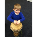 We played the African drums.