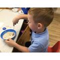 Making porridge.