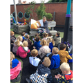 We took our literacy learning outside.