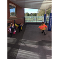 On a windy day, we explored wearing the wings and watching the material flap as we ran.