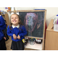 """I made a colourful unicorn with the chalks."""