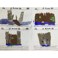 We painted pictures of castles.