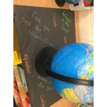We have been using globes to learn about continents and oceans
