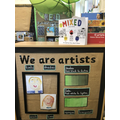 Mrs Hewitt and Mrs Matthew's Art area. Sharing techniques and work we are proud of.