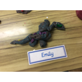 We made dragon sculptures.
