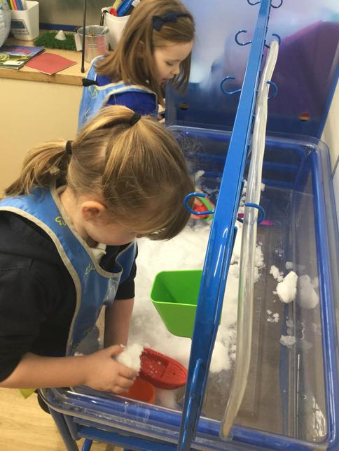 After it snowed, we explored melting it and putting it into different containers.