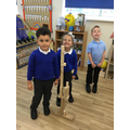 We built a tall beanstalk together and measured ourselves to see if we were taller.