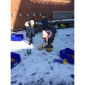 We enjoyed exploring in the snow. We used moulds to create shapes.