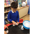 We explored pouring cold and warm water on the ice.
