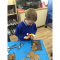 We made pictures with leaves.