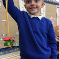 We enjoyed making repeating colour patterns with threading bears.