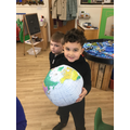 """We went on a 3D shape hunt. """"I found a sphere."""""""