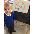 We created rainbows and talked about the colours we used.