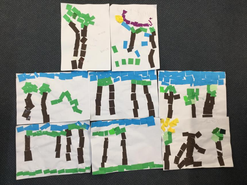 We created collages of the rainforest.
