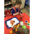 We looked carefully at the details on the fruit.