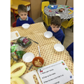We read instructions to make a fruit salad.