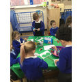 We wanted to be superheroes too, so we cut out and decorated masks.