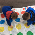 We are developing our balance by playing Twister!