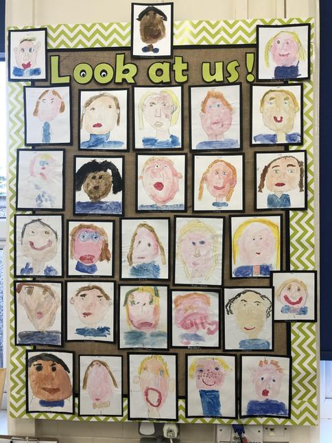 We used water colours to colour mix to paint self portraits.