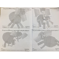 We followed instructions to create an elephant picture using shapes.