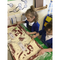 We wrote ingredients in flour.