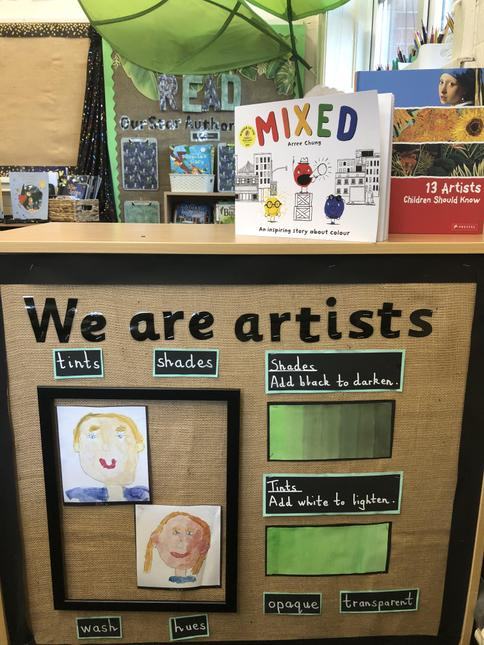 We explored, practised and applied our art skills in our 'Create' areas.