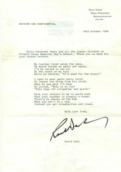 What a wonderful reply to receive! 18 October 1988