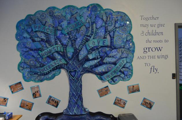 Our Values Tree outside the main receptions area