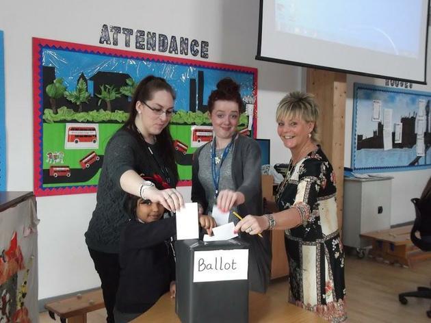 Members of staff voting