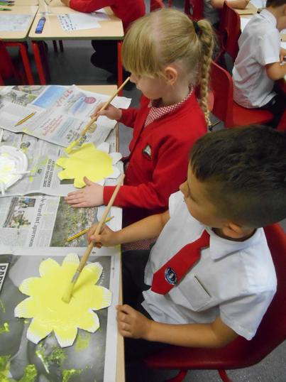 We are going to make a class sunflower picture.