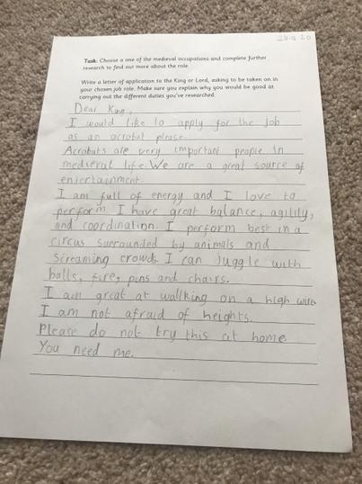 Daniel's Application for a Medieval Job