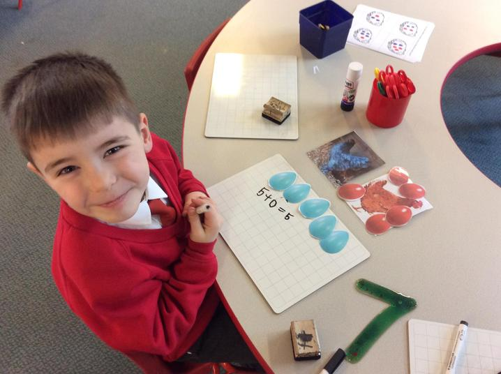 Telling a maths story about Bluey the Hen's eggs!