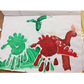 Using handprints to make dinosaurs
