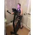 working out on an exercise bike