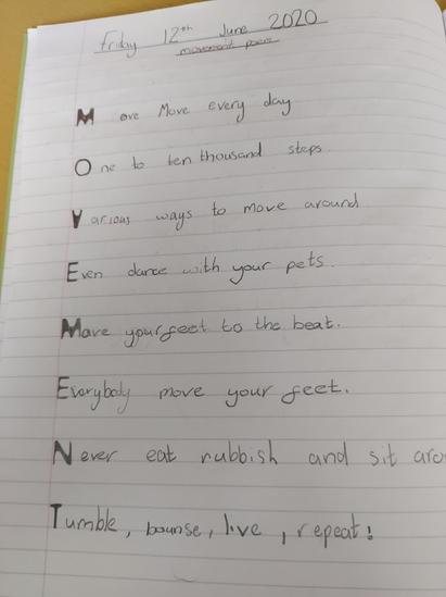 Olivia's movement poem