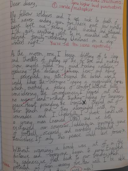 Diary entry from an English soldier's point of view.