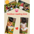 Reading outside.