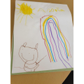Drawing a rainbow.