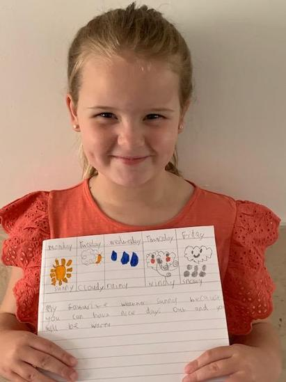 Drew's weather diary and super sentences!