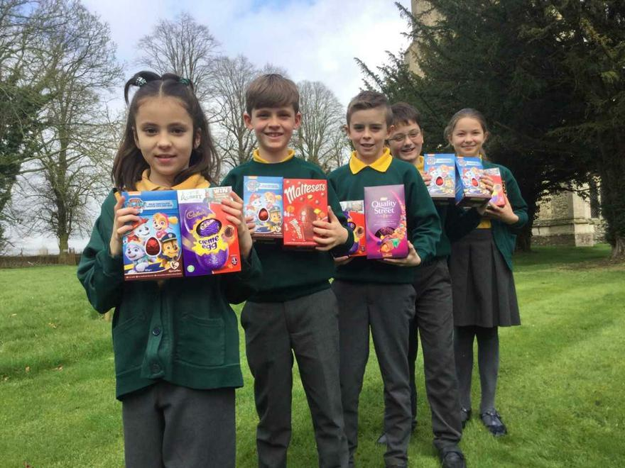 A small selection of the Easter egg donations for the Broxbourne Food Bank.
