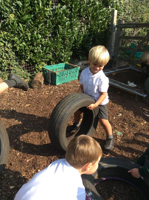 Moving tyres to help strengthen our muscles