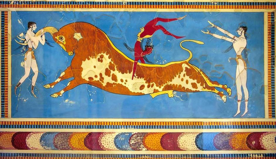 Does this painting show that men jumped over bulls?